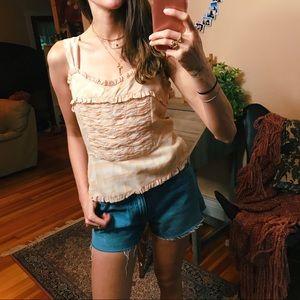 Vintage 100% silk Blush ruffle sleeveless blouse
